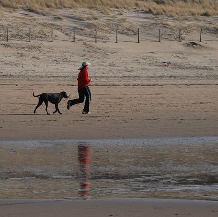 Hond uitlaten? - Laat de vrouw haar hond uit, of de hond de vrouw? - foto door Thezzie op 27-03-2009 - deze foto bevat: strand, reflectie, hond, rennen, hardlopen, uitlaten