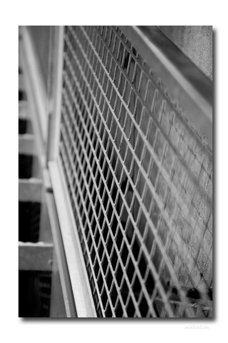 Richting bepalen... - Lens getest tijdens Sony demodag in Utrecht. Scherptediepte was de insteek hier voor mij.   Het resultaat is wel grappig. - foto door mistralzon op 25-02-2010 - deze foto bevat: trap, hekwerk, stairs, Zwart/Wit