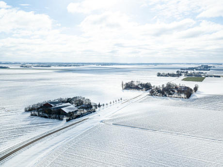 With snow covered Flevo Landscape