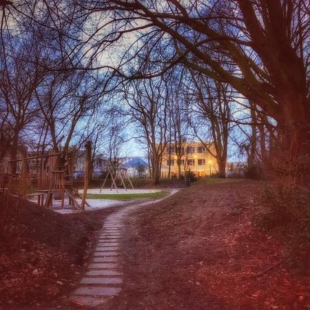 Path to .... - Op weg naar ..... de start van een nieuwe week. - foto door Steven-1966 op 01-03-2021 - deze foto bevat: lucht, natuur, landschap, bos, pad, bomen, huis, weg, iphone fotografie