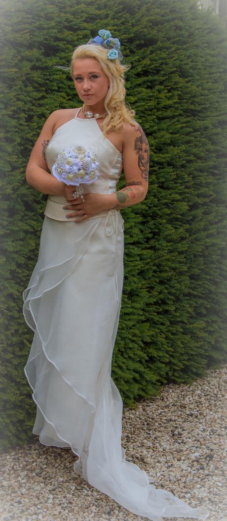 Bride in the white wedding dress