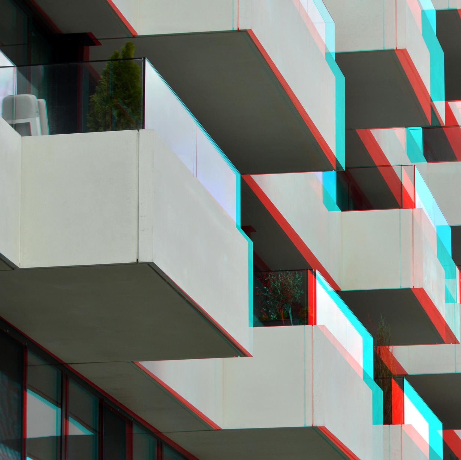 The Muse Wijnhaven  Rotterdam 3D - 3D anaglyph stereo red/cyan - foto door hoppenbrouwers op 12-04-2021 - locatie: Rotterdam, Nederland - deze foto bevat: 3d, anaglyph, the muse, rotterdam, wijnhaven, anaglyphred/cyan, rechthoek, architectuur, lijn, rood, kunst, materiële eigenschap, stedelijk ontwerp, driehoek, facade, parallel
