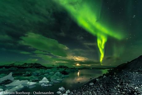 Aurora above Jökulsárlón