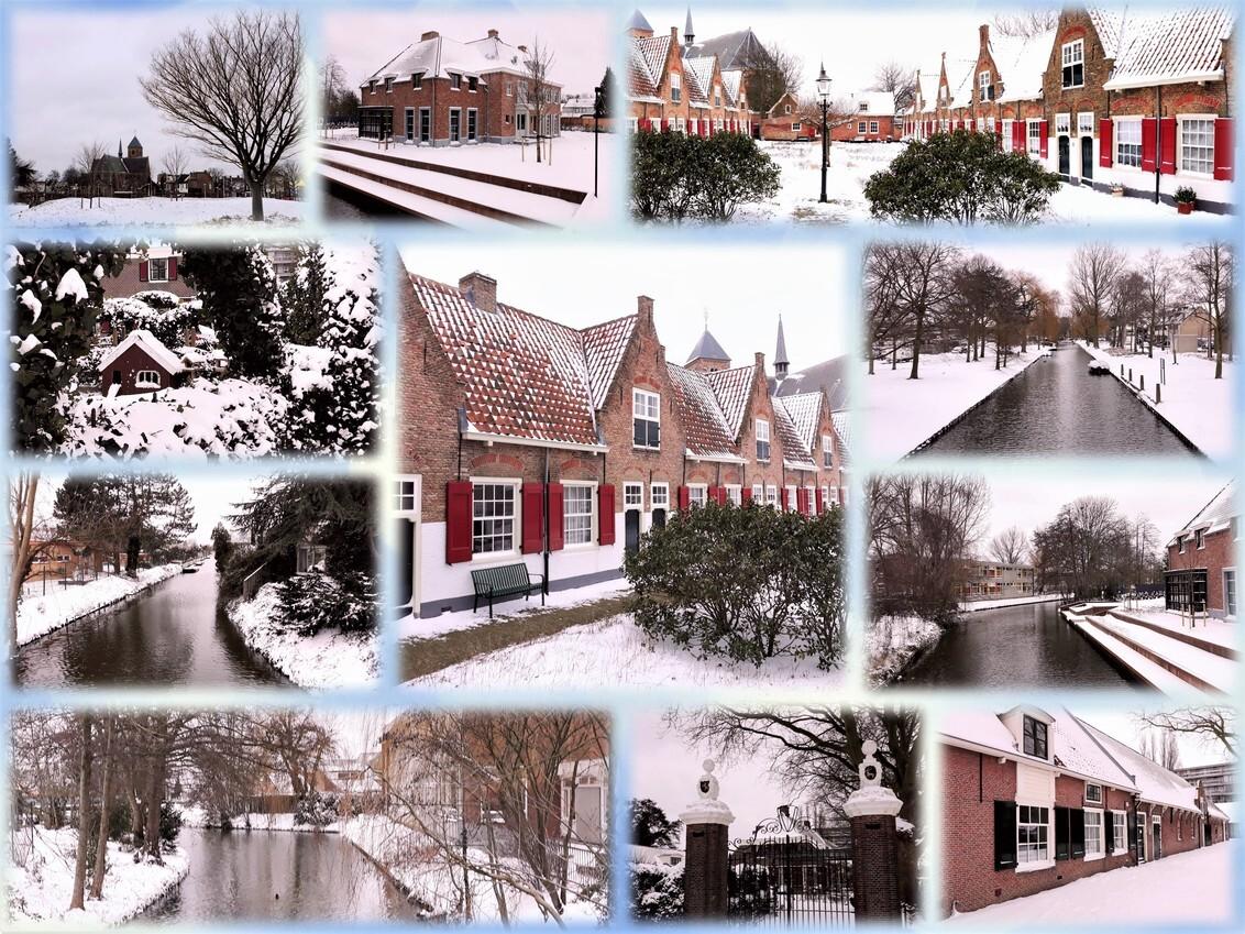 collage 11 keer Naaldwijk wintersfeer 8feb 2021 (1) - Hallo Zoomers, GROOT kijken en even lezen . Het heeft even geduurd maar net als op veel andere plekken werd het dan toch een Witte Winter Wereld  in  - foto door jmdries op 08-02-2021 - deze foto bevat: water, natuur, winter, landschap, bomen, collage, collage naaldwijk wintersfeer feb 2021