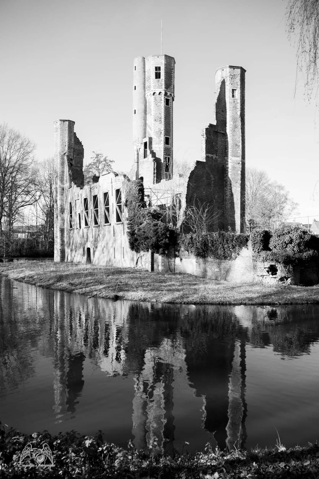 Weerkaatsing - De weerkaatsing in het water weergeven  - foto door Tasja op 13-04-2021 - locatie: 2570 Duffel, België - deze foto bevat: engeltje's fotografie, water, lucht, watervoorraden, fabriek, natuurlijk landschap, gebouw, zwart en wit, lichaam van water, stijl, waterloop