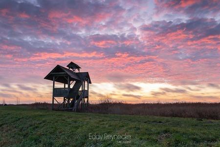 Sunrise Zuidlaardermeer - Kleurrijke zonsopkomst bij de uitkijktoren aan het Zuidlaardermeer. - foto door eddy-reynecke op 22-12-2020 - deze foto bevat: lucht, wolken, zon, water, natuur, licht, landschap, tegenlicht, zonsopkomst, meer, zuidlaardermeer