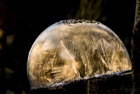 Bevroren zeepbel in zonlicht