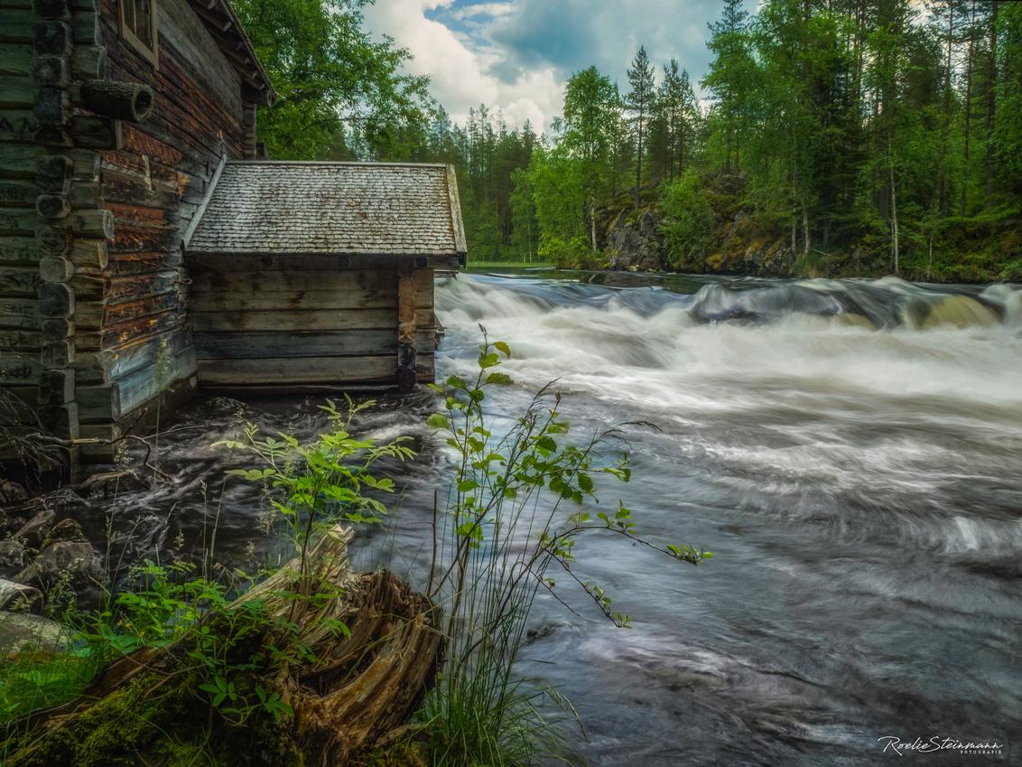 The wilderness of Lapland - Zo af en toe kijk ik nog wel eens naar de foto's die ik tijdens onze reis naar Fins Lapland heb kunnen maken. Met deze foto had ik nog niets gedaan.  - foto door steinmann.rp op 21-03-2019 - deze foto bevat: lucht, wolken, zon, water, natuur, reizen, landschap, bos, zomer, waterval, bergen, meer, reis, wandelen, finland, watermolen, lapland, reisfotografie, stroomversnelling