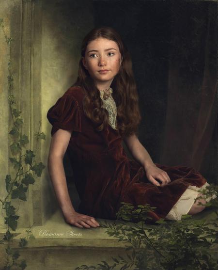 Sophie - Een portret geinspireerd op de oude schilderijen van vroeger. - foto door Romanceshoots op 26-02-2021 - deze foto bevat: mensen, licht, schaduw, model, tegenlicht, kind, ogen, haar, meisje, emotie, rembrandt, fineart, ordemeester