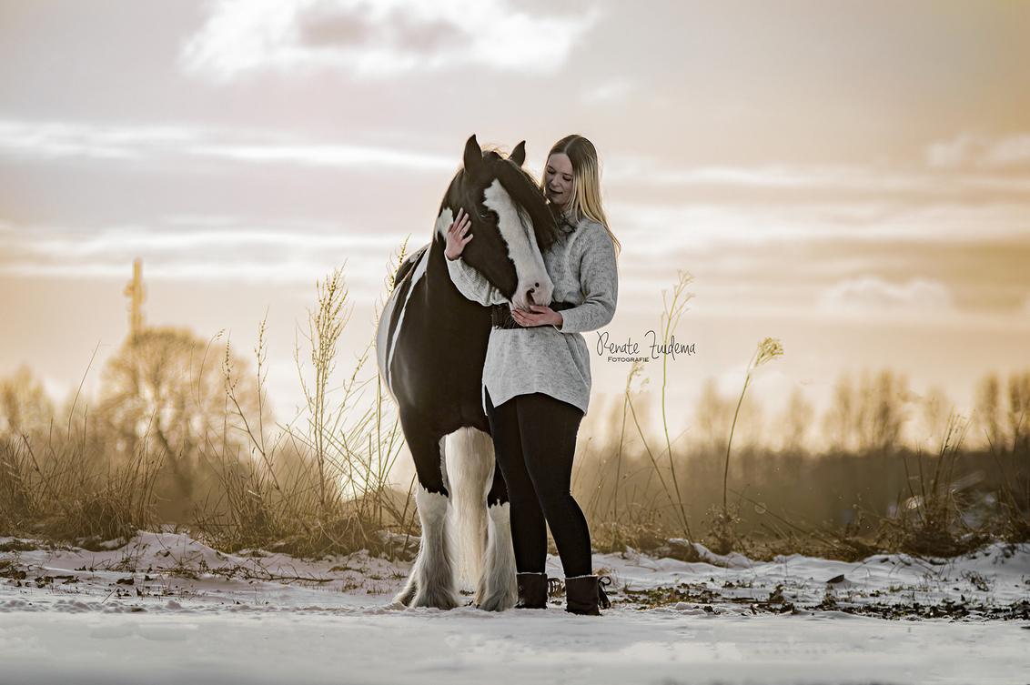 My Valentine - Liefde tussen mens & dier! - foto door RenateZuidemaFotografie op 14-02-2021 - deze foto bevat: sunset, paarden, sneeuw, paard, zonsondergang, pony, liefde, valentijn, love, valentine, horses, snow, horse, tinker