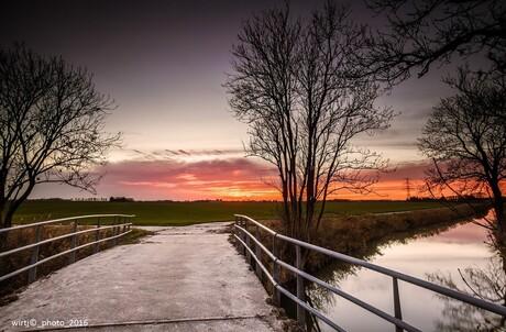 Stork zonsondergang