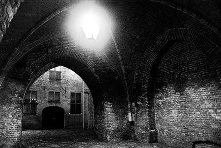 Drogenapstoren Zutphen - Nacht foto van de drogenapsteeg onder de drogenapstoren door. - foto door fabian89 op 27-05-2013 - deze foto bevat: nacht, zutphen, drogenapstoren, zwart wit, drogenapsteeg