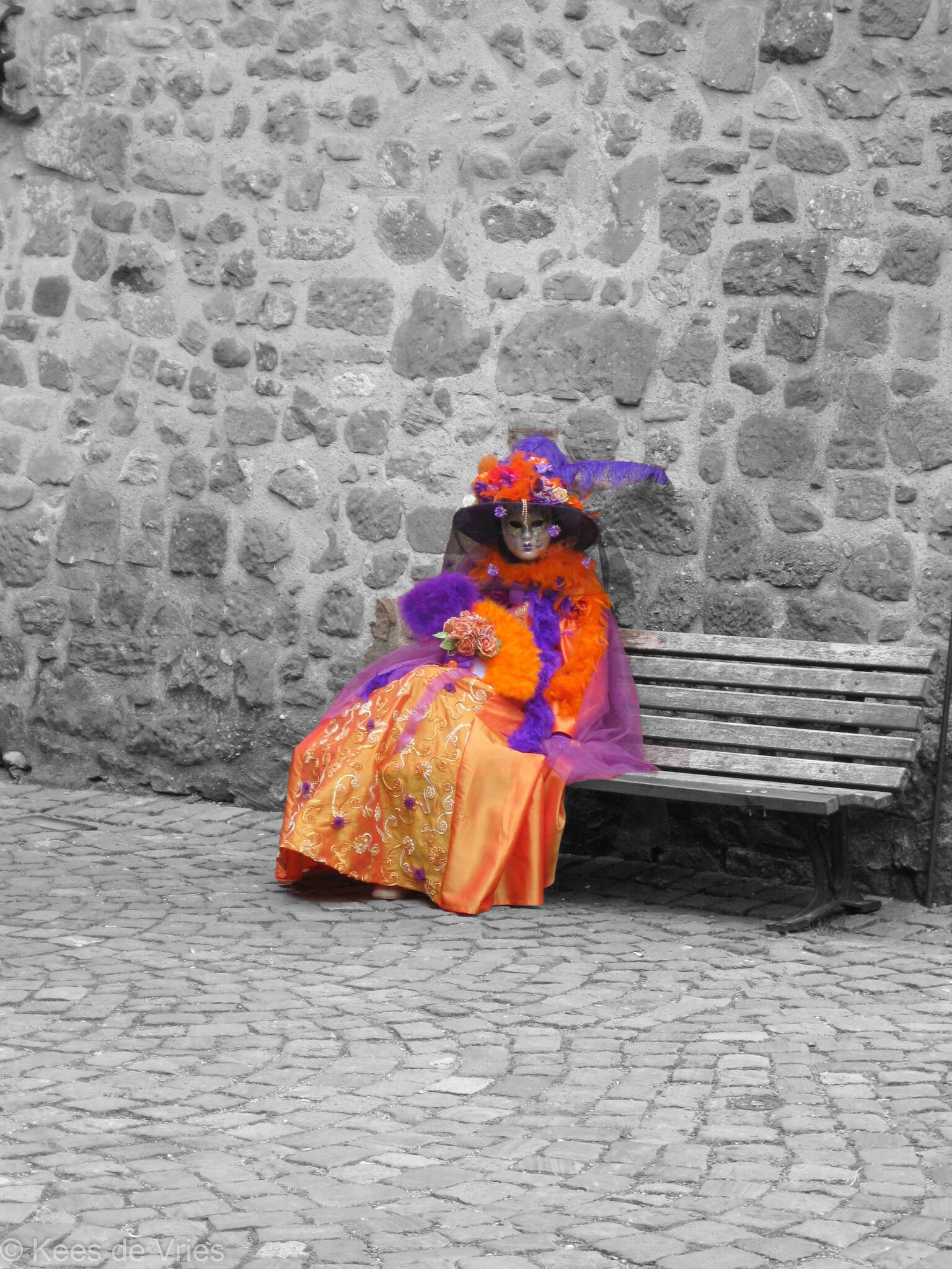 Elzas 2012 - Venetiaanse Parade in Riquewihr in de Elzas - foto door KdV59 op 05-05-2021 - locatie: 68340 Riquewihr, Frankrijk - deze foto bevat: weg oppervlak, straatmode, vloeren, tinten en schakeringen, weg, bank, landschap, magenta, menselijke nederzetting, trottoir