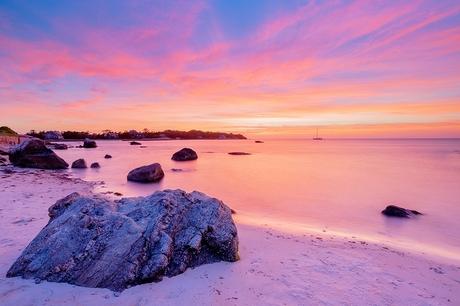 Stony beach sunset
