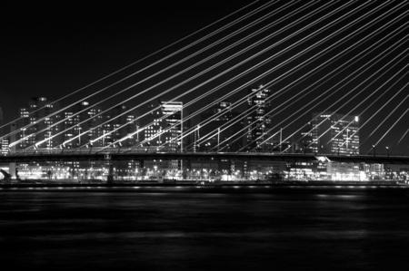 Skyline Rotterdam - Wat is het leuk om in het donker aan het werk te zijn. - foto door vincent2104 op 25-01-2011 - deze foto bevat: rotterdam, erasmusbrug, skyline, nacht