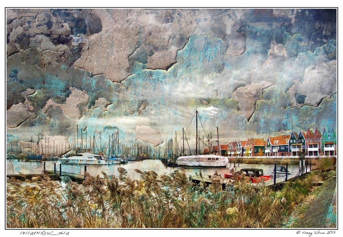 Eel Harbour - - - foto door Harry Sibum op 26-11-2015 - deze foto bevat: kleur, abstract, landschap, volendam, bewerking, creatief, manipulatie, havengezicht, harry sibum