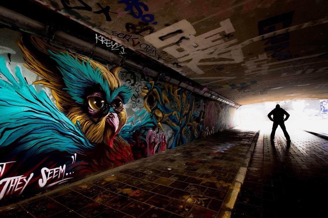 Tunnel of Art.. - Regen, Regen,Regen, dan maar overdekt.... - foto door HenkPijnappels op 23-02-2016 - deze foto bevat: man, kleur, licht, tegenlicht, stad, eindhoven, graffiti, straatfotografie