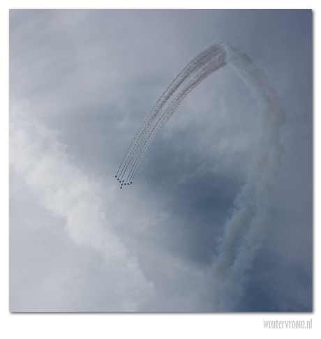 Red Arrows in white
