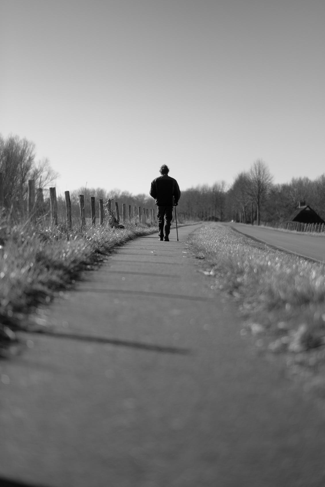De wandelaar - Goede reis - foto door michielheijmans op 07-03-2021 - deze foto bevat: man, mensen, straat, dijk, silhouette, straatfotografie, ravenstein