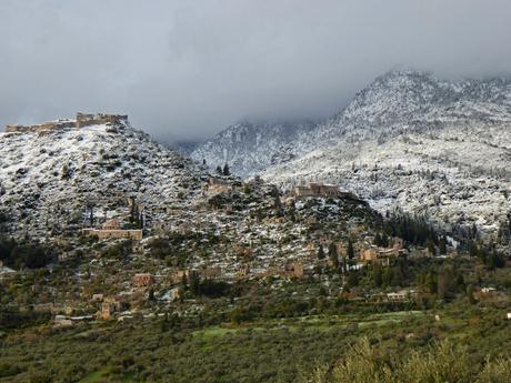Byzantijns Mystras met sneeuw....