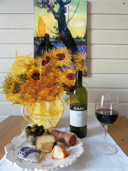 van Gogh - Zonnebloemen en een veld met paars, dat schreeuwt om van Gogh. - foto door jopper op 28-10-2013 - deze foto bevat: bewerking, zonnebloemen, bewerkingsuitdaging, van gogh, jopper, BUwk44-45-2013, zaaier