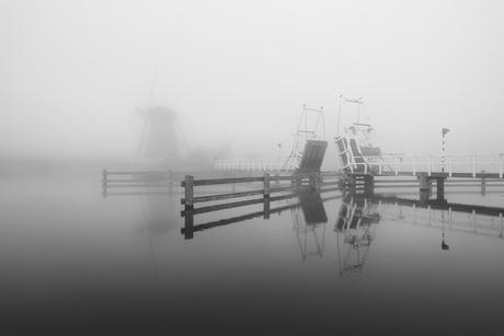 Mist in Kinderdijk