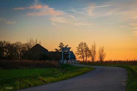 Poppendammergouw rond zonsondergang