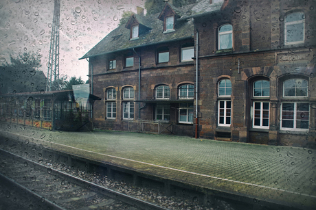 A desolate train station