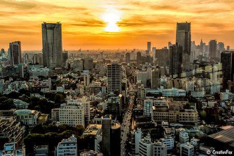 Tokyo Tower zonsondergang