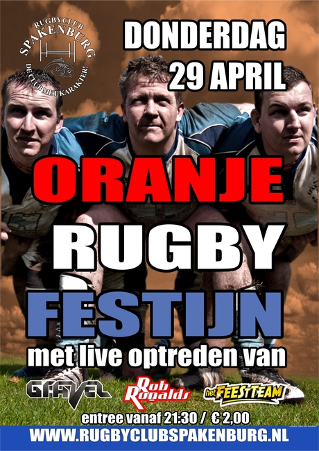 Poster oranje rugby festijn 2010