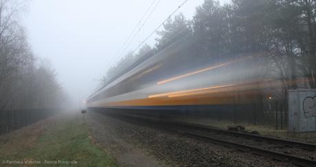 Trein in de mist