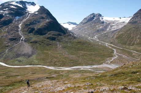 uitzicht op de gletsers in Jotunheimen