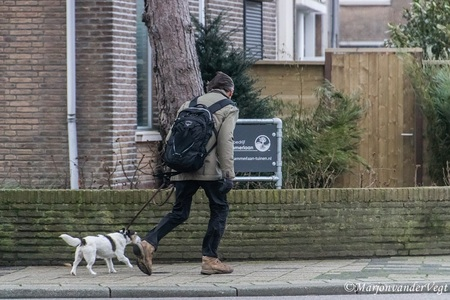 Stormy weather - Het was wat gisteren, en deze man ging een vrolijke wandeling tegemoet, al had hij goede tegenwind.  Hartelijk dank voor alle waardering voor mijn  - foto door MarjonvanderVegt1967 op 19-01-2018 - deze foto bevat: straat, natuur, hond, storm, wandelen, meneer, Den Haag