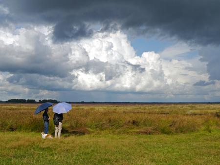 Wachten op de schaapskudde - Twee keer per dag is te zien hoe de 2 schaapskuddes hun stal verlaten en binnenkomen op het Dwingelderveld. De lucht was dreigend en even vielen een  - foto door InavanDelden op 02-10-2014 - deze foto bevat: wolken, hei, drente, hondje, schaapskudde, paraplu, dwingelderveld, Donkere wolken