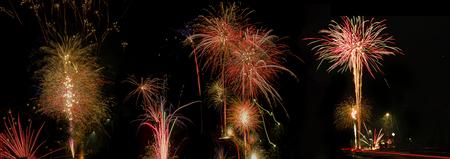 Vuurwerk - #zoomnluitdaging.  meerdere foto's samen gevoegd tot 1. Vuurwerk bij ons in de straat!  Ik heb iedereen al de beste wensen gedaan met de kerstka - foto door BNN op 02-01-2019 - deze foto bevat: nieuwjaar, bewerkt, vuurwerk, bnn, 2019