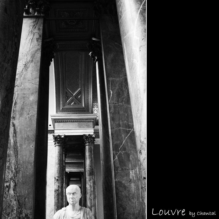 Louvre II - Wederom het Louvre... deze keer een spiegelend doorkijkje in een van de grote galerijen in het museum... - foto door Chantal_H op 19-05-2009 - deze foto bevat: beeld, doorkijkje, parijs, reflecties, paris, louvre, pilaren, buste, zwart-wit, chantal-h