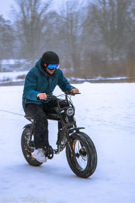 Biker in the snow
