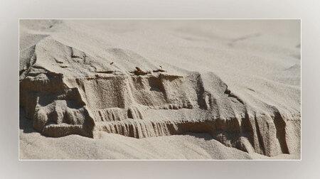 Zandschilderij - als je er over nadenkt al die kleine zandkorrels en dan zo'n strakke afscheiding tussen wat verschoven is en wat niet.  voor mij een zandschilderij. - foto door van9791 op 23-05-2010 - deze foto bevat: duinen, zand, korrels, zandschilderij