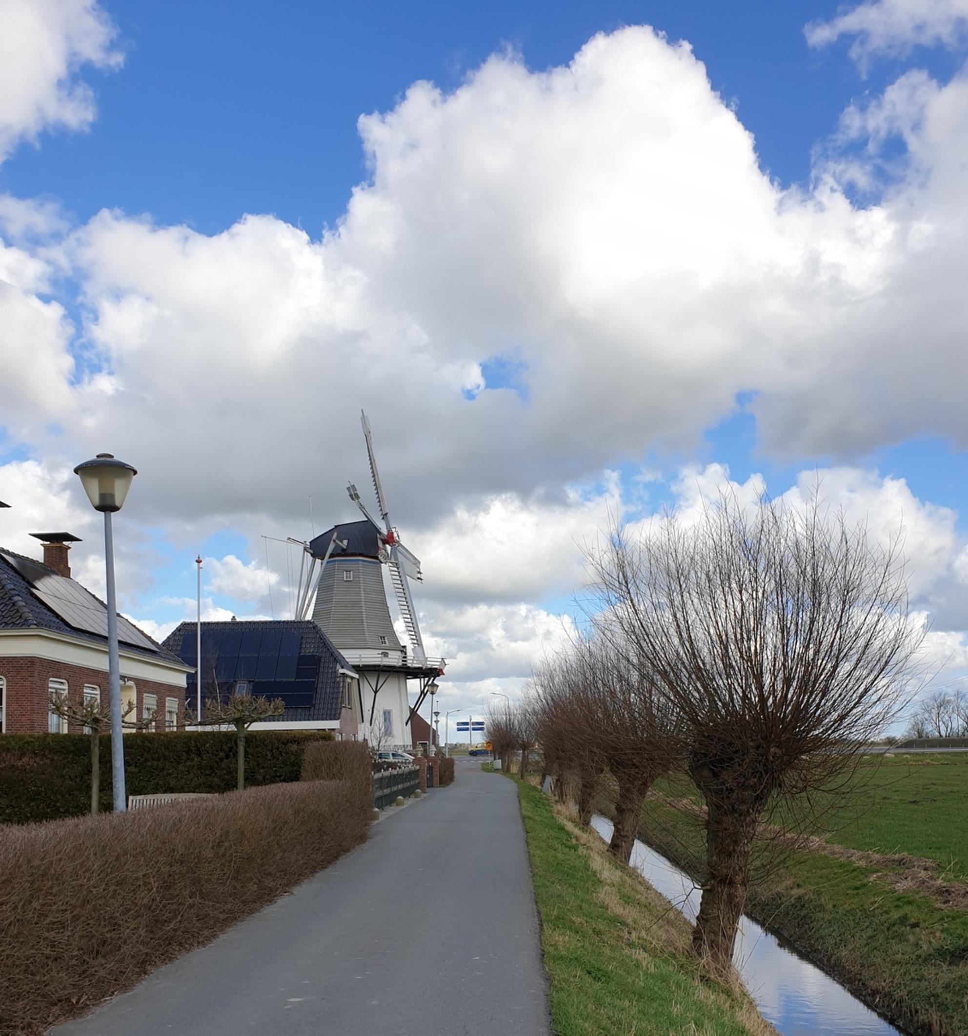 Wetsinger molen0210305_165422 - Dit is klein wetsinge.  Gr Bets - foto door cgfwg op 07-03-2021 - deze foto bevat: wolken, landschap, molen - Deze foto mag gebruikt worden in een Zoom.nl publicatie