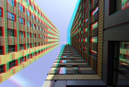 Symphony Zuidas Amsterdam 3D - Symphony Zuidas Amsterdam 3D - foto door hoppenbrouwers op 14-10-2018 - deze foto bevat: amsterdam, 3d, building, hoogbouw, anaglyph, zuidas, symphony