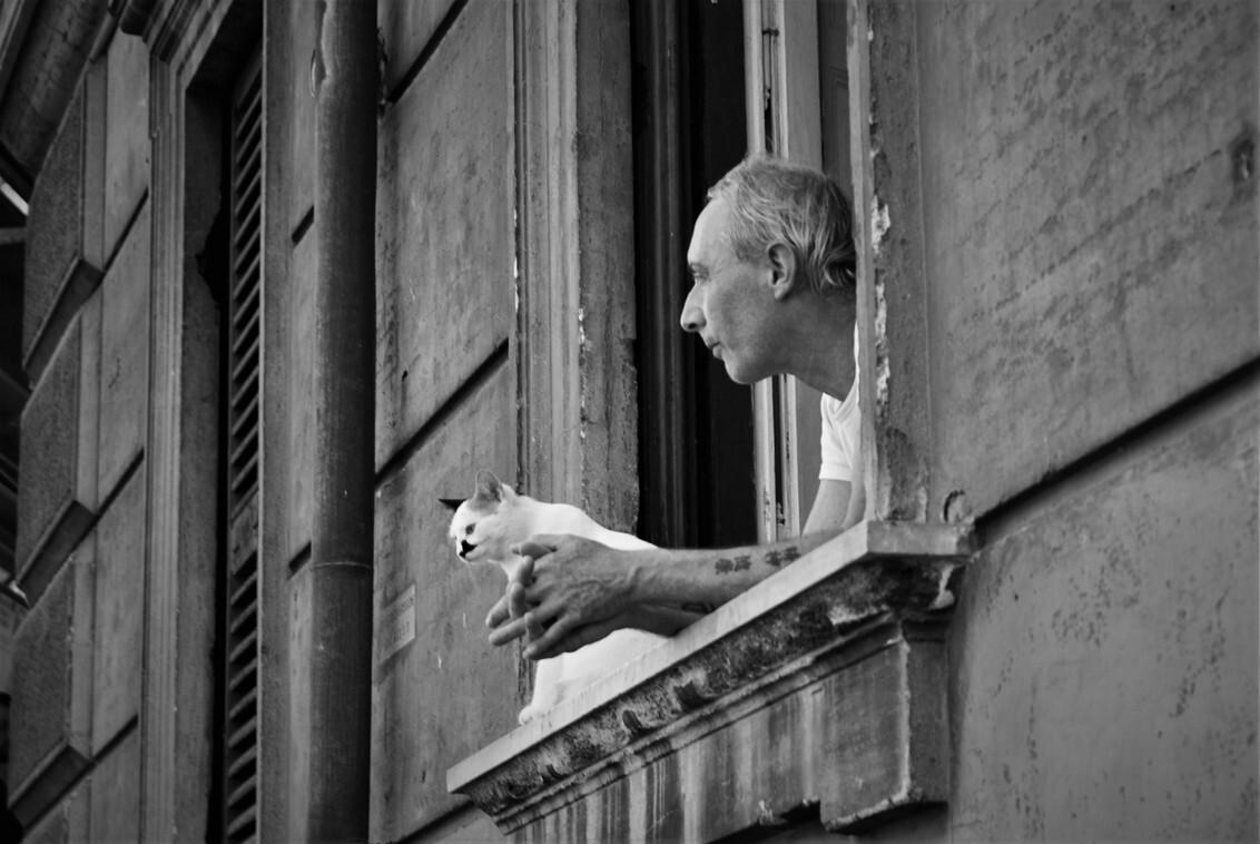 Best friends - Ik zag dit beeld toen ik in Rome was. Een man met zijn kat zit lekker mensen te kijken in de warmte. Slechts 1 foto kunnen maken want hij had me mete - foto door MarijeScheening op 20-07-2017 - deze foto bevat: oud, man, straat, vakantie, portret, rome, kat, stad, raam, zwartwit, huis, straatfotografie, centrum