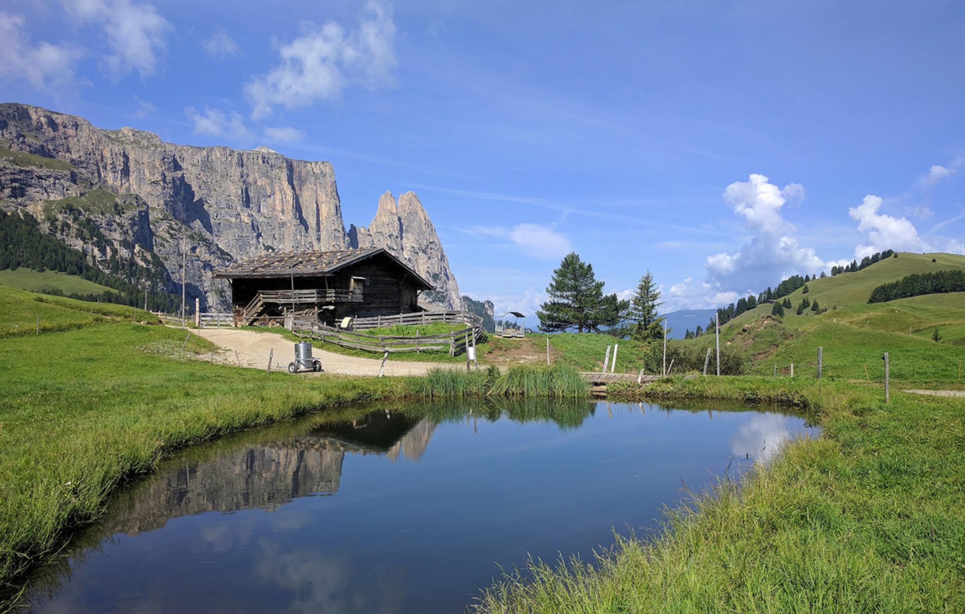 seiser alm-schlern - Mijn favoriete vakantiebestemming ; Süd tirol en dan de seiser alm. Hier een schuur waar nog traditioneel gemolken wordt met op de achtergrond de Sc - foto door jansweijer op 25-09-2019 - deze foto bevat: italie, alpen, dolomieten, schlern, jans, Süd Tirol, seiser alm