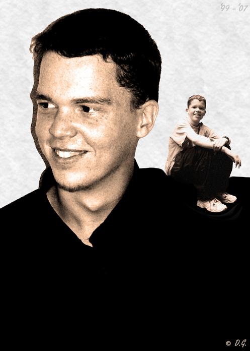 Back In Time - Dit ben ik.  Wie daar op m'n schouder zit? Dat ben ik ook, maar dan wel 8 jaartjes jonger.  We gaan van 2007 terug naar het jaar 1999. - foto door daniel44 op 25-11-2007 - deze foto bevat: oud, tijd, klein, portret, groot, dubbel, jong, daniel44, leeftijd