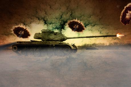 M-47 Patton Tank In Battle