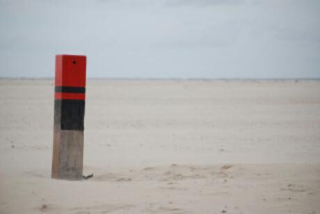 Strandpaal op Texel