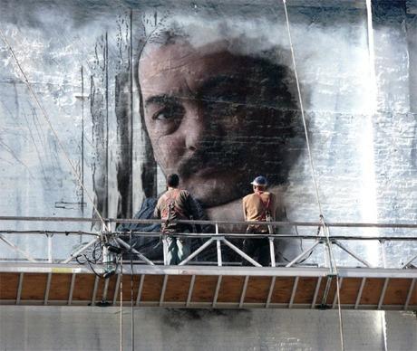 Zelfportret in muurschildering