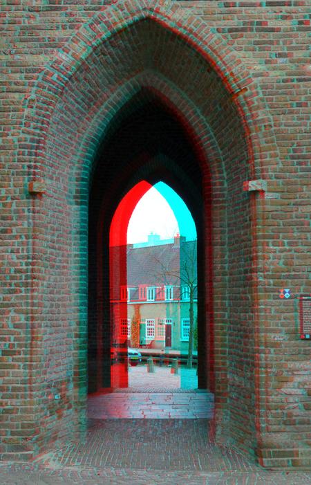 Oudewater (Provincie Utrecht) 3D - Oudewater  (Provincie Utrecht) 3D - foto door hoppenbrouwers op 05-04-2021 - deze foto bevat: 3d, oudewater, anaglyph, stereo, stadstoren, red/cyan, (provincie utrecht)
