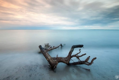 Zonsondergang aan de oostzee kust,