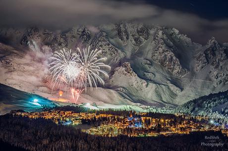 Fireworks on snow