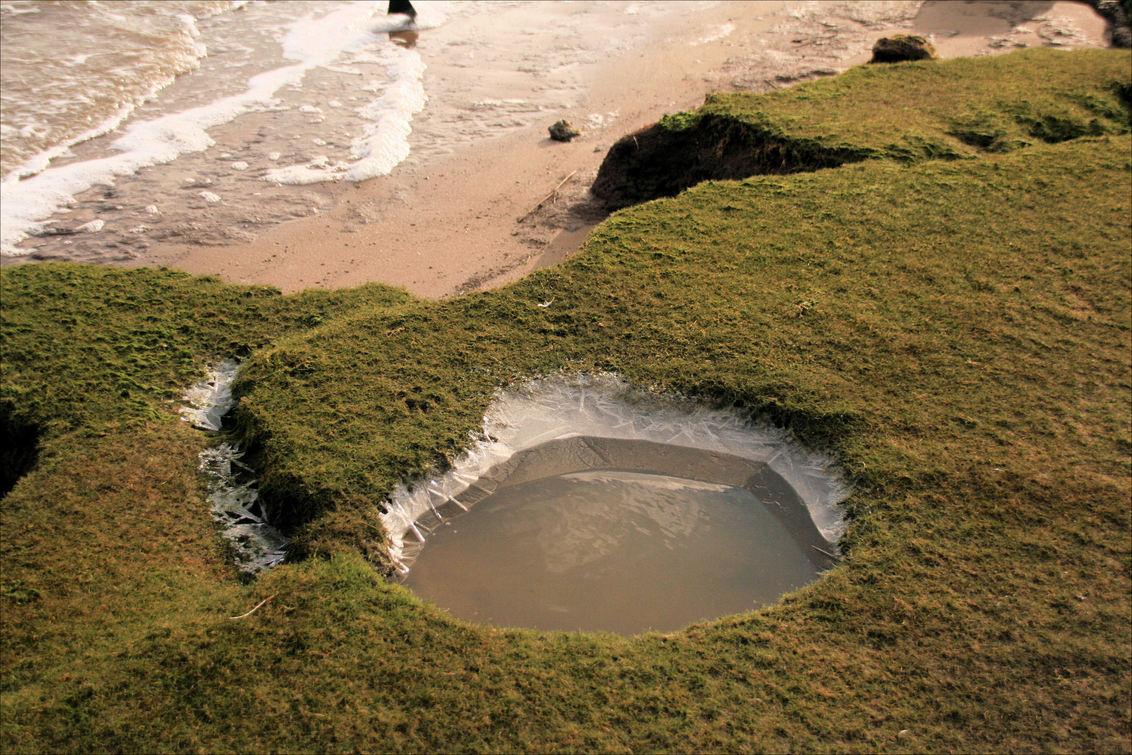 Kwelder Ijsbad - Op de kwelder bij de Dollard - foto door Teunis Haveman op 01-02-2021 - deze foto bevat: zee, water, natuur, ijs, landschap